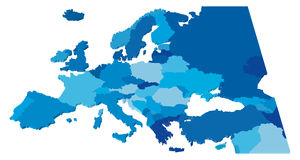 Europe Map Color. Blue 3D Map of the European Countries Stock Photography