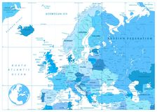 Europe Map in Colors of Blue Stock Photos