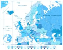 Europe Map in Colors of Blue and Map Markers Stock Images