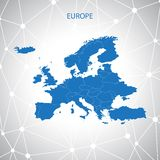 Europe map. Communication background  Royalty Free Stock Photo