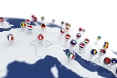 Europe map with countries flags location pins Royalty Free Stock Images