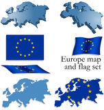 Europe map and flag set Royalty Free Stock Photo