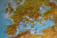 Europe Map. With a focus on Italy and France, with Italian names Royalty Free Stock Photography