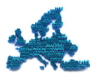 Europe map formed by names of major cities Stock Photography