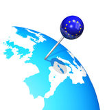 Europe map globe. 3d pin in europe map globe Royalty Free Stock Photos