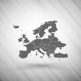 Europe map on gray background, grunge texture Royalty Free Stock Photos