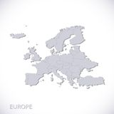 Europe map gray. Vector political with state borders Royalty Free Stock Photo