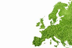 Euro. Pe map from green grass texture vector illustration
