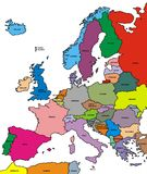 Europe map. Illustrated colored europe map isolated on white background Royalty Free Stock Photo