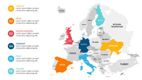 Europe map infographic. Slide presentation. Global business marketing concept. Color country. World transportation data Royalty Free Stock Photography