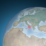 Europe map, Italy, earthquake shock Stock Photography