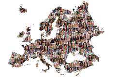 Europe map multicultural group of young people integration diver Royalty Free Stock Image