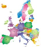 Europe map. Nice colored europe map isolated on white background Royalty Free Stock Photo