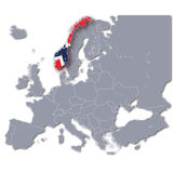 Europe map with Norway Stock Photography