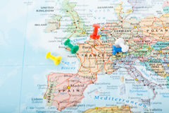 Europe Map pins travel Stock Photography