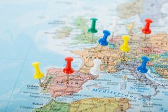 Europe Map pins travel Royalty Free Stock Images