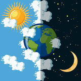 Day and night on the planet Earth concept. Sun on cloudy sky and moon on dark star sky around green and blue Earth globe. Educational geography for kids Royalty Free Stock Images
