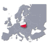 Europe map with Poland Royalty Free Stock Photo