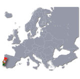 Europe map with Portugal royalty free illustration