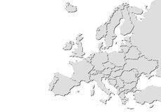 Europe map with shadows. Gray europe map with shadows on white background Royalty Free Stock Images
