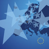 Europe map stars cover vector. Europe map land border stars cover background vector Royalty Free Stock Photo