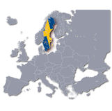 Europe map with Sweden Royalty Free Stock Image