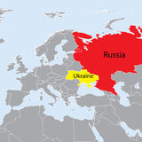 Europe map Ukraine and Russia Stock Images