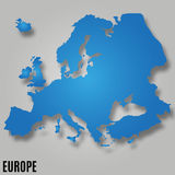 EUROPE MAP VECTOR. EUROPE MAP continent VECTOR wit shadow illustration Stock Photography