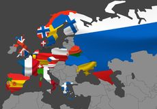 Europe map vector illustration with flags. Infographic template stock illustration