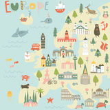 Europe map. Vector map of Europe with sights, animals, trees and flowers in cartoon style Royalty Free Stock Image