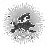 Europe map with vintage style star burst, retro Stock Images