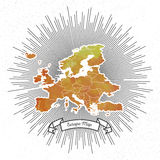 Europe map with vintage style star burst, yellow Stock Images