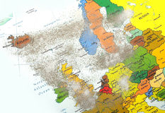 Europe map with volcano dust Royalty Free Stock Photo