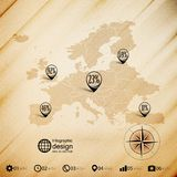 Europe map, wooden design background, infographics Stock Images