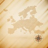 Europe map, wooden design background, vector Stock Images