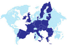 Europe map with world map Royalty Free Stock Images