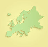 Europe map yellow green Royalty Free Stock Images