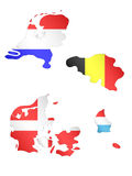 Europe Maps with Flags 3 Stock Photos