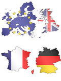 Europe Maps with Flags 1 Royalty Free Stock Photos