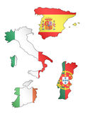 Europe Maps with Flags 2 Stock Photography