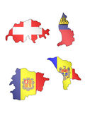 Europe Maps with Flags 9 Stock Photo