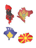 Europe Maps with Flags 12 Stock Images