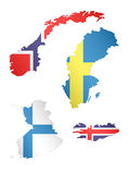 Europe Maps with Flags 4 Stock Images