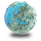 Europe on marble planet Earth royalty free illustration