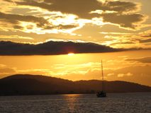 Europe. Mediterranean area. Adriatic sea. Croatian riviera. Sailing yacht floating in the sunset. Autumn 2012. Europe. Mediterranean area.  Adriatic sea Stock Image
