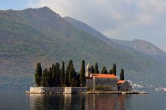 Europe. Mediterranean area. Adriatic sea. Montenegro. Kotor bay. The Monastery on the Sveti Dorde Island. Autumn 2012. Europe. Mediterranean area. Adriatic sea stock illustration