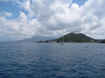 Europe. Mediterranean region. Adriatic sea. Croatia. Dalmatia. Sailing among the islands. Navigation season 2015.  stock photo