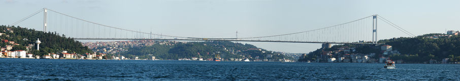 Europe meets Asia - Istanbul. Panoramic view of Istanbul where the 2 continents meets. Fatih Sultan Mehmet Bridge connects Europe to Asia Stock Photography