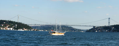 Europe meets Asia - Istanbul. Panoramic view of Istanbul where the 2 continents meets. Fatih Sultan Mehmet Bridge connects Europe to Asia Stock Photos