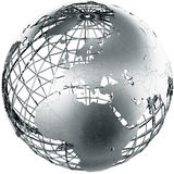 Europe in metal. 3d rendering of a metal globe showing Europe Royalty Free Stock Image